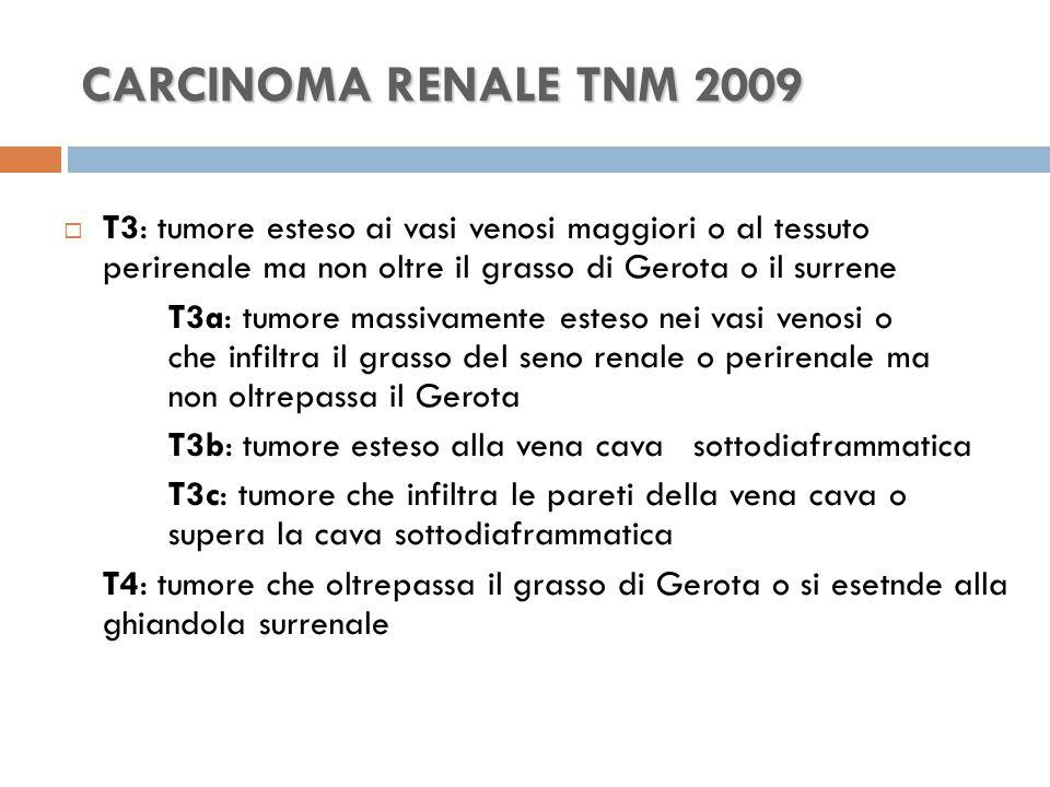 CARCINOMA RENALE TNM 2009 T3: tumore esteso ai vasi venosi maggiori o al tessuto perirenale ma non oltre il grasso di Gerota o il surrene.