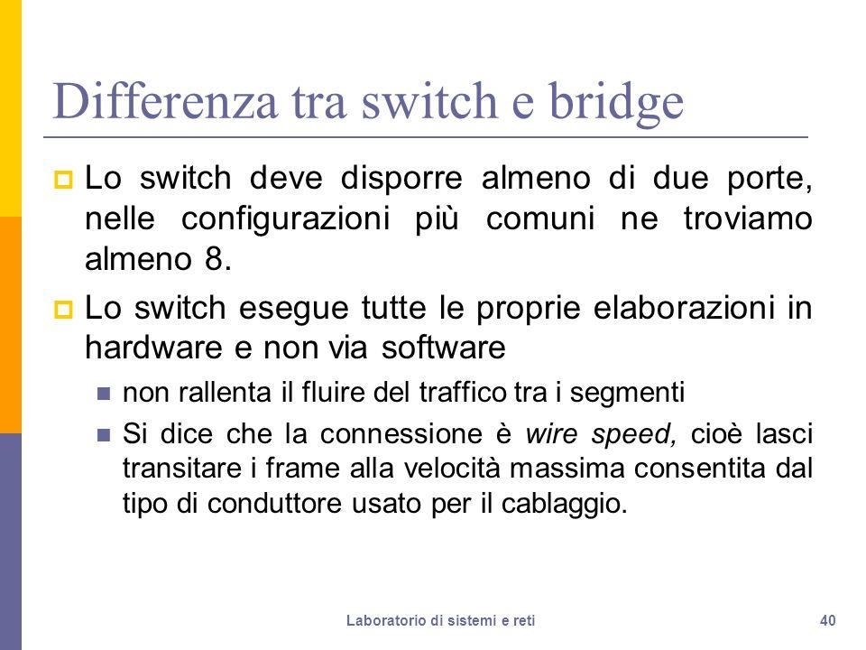 Differenza tra switch e bridge