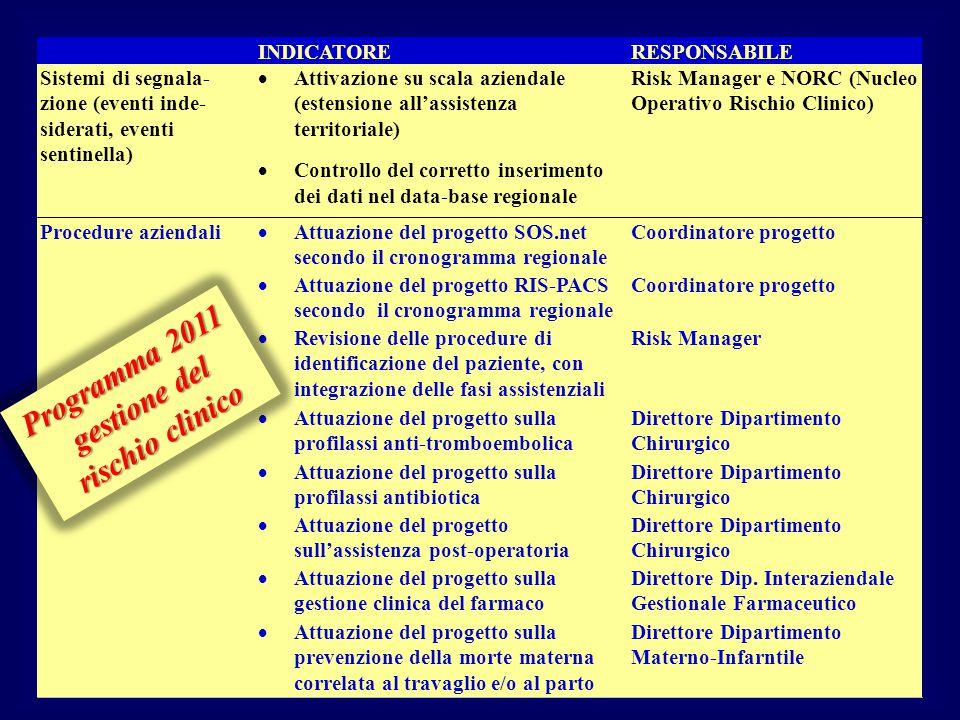 Programma 2011 gestione del rischio clinico