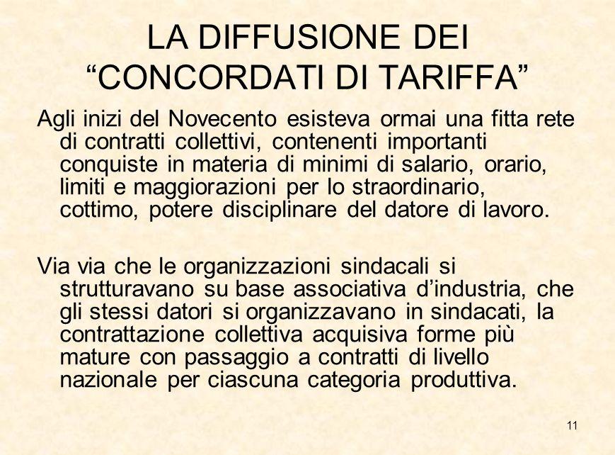 LA DIFFUSIONE DEI CONCORDATI DI TARIFFA