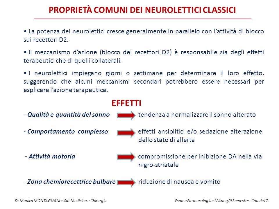 Proprietà comuni dei neurolettici CLASSICI
