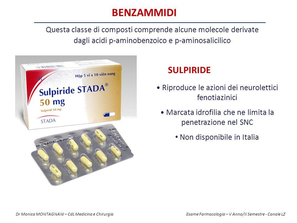 BENZAMMIDI Questa classe di composti comprende alcune molecole derivate. dagli acidi p-aminobenzoico e p-aminosalicilico.