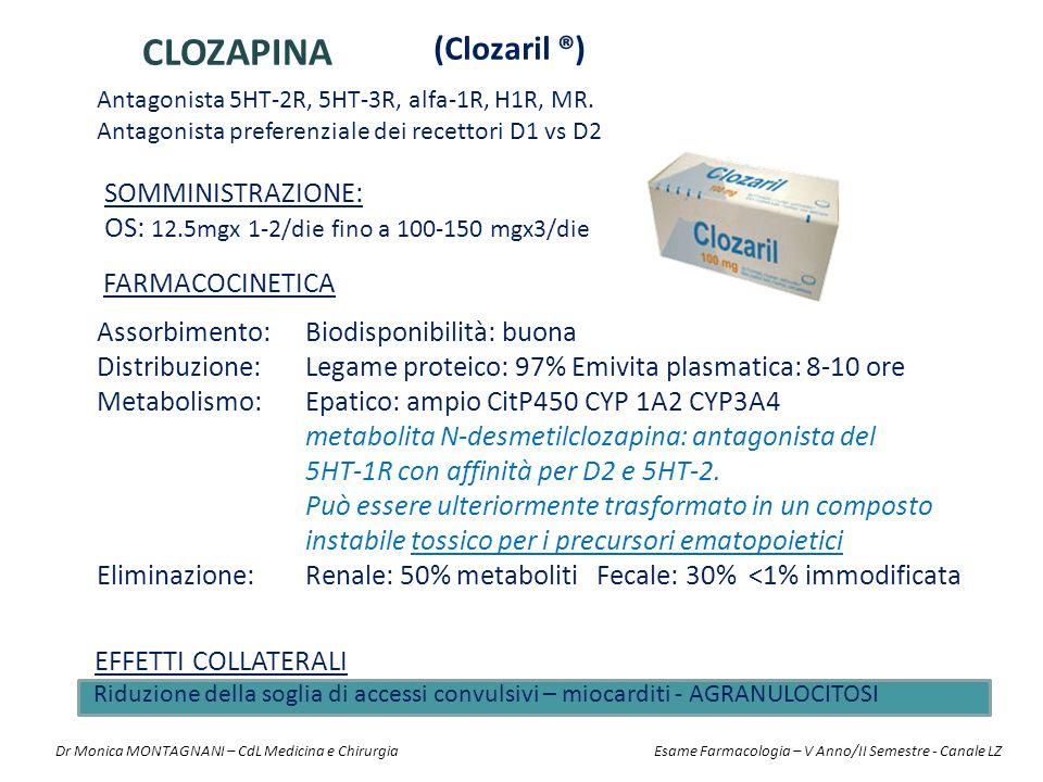 CLOZAPINA (Clozaril ®) Somministrazione: