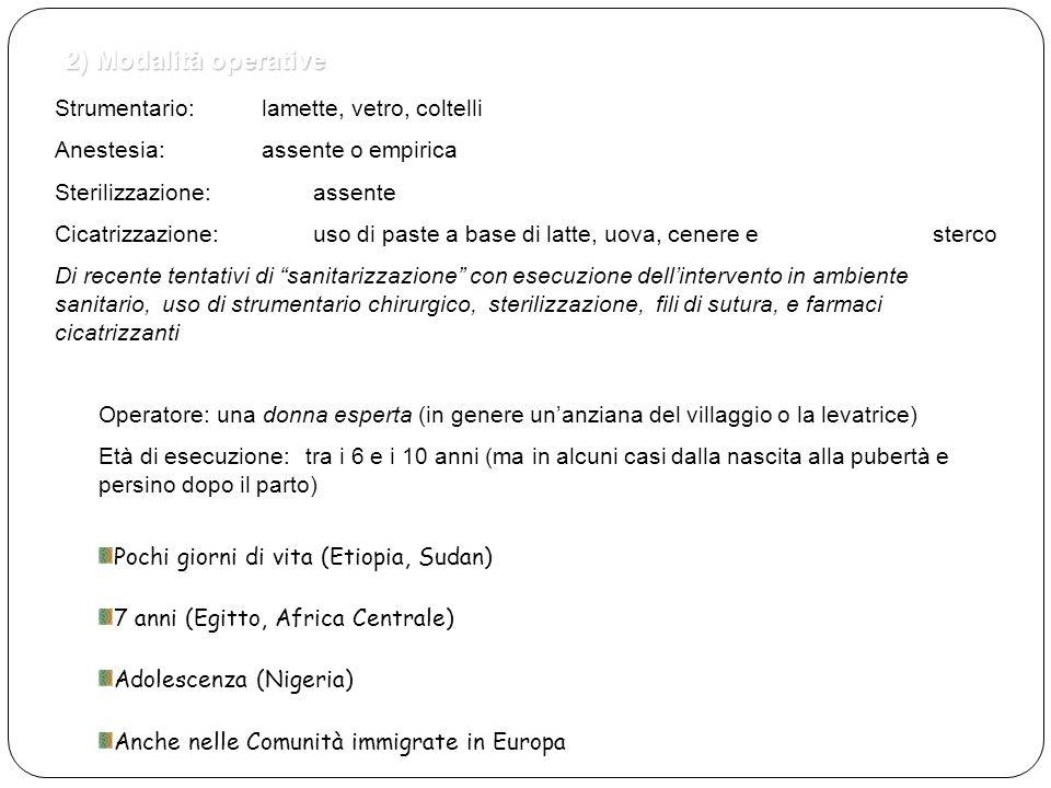 2) Modalità operative Strumentario: lamette, vetro, coltelli