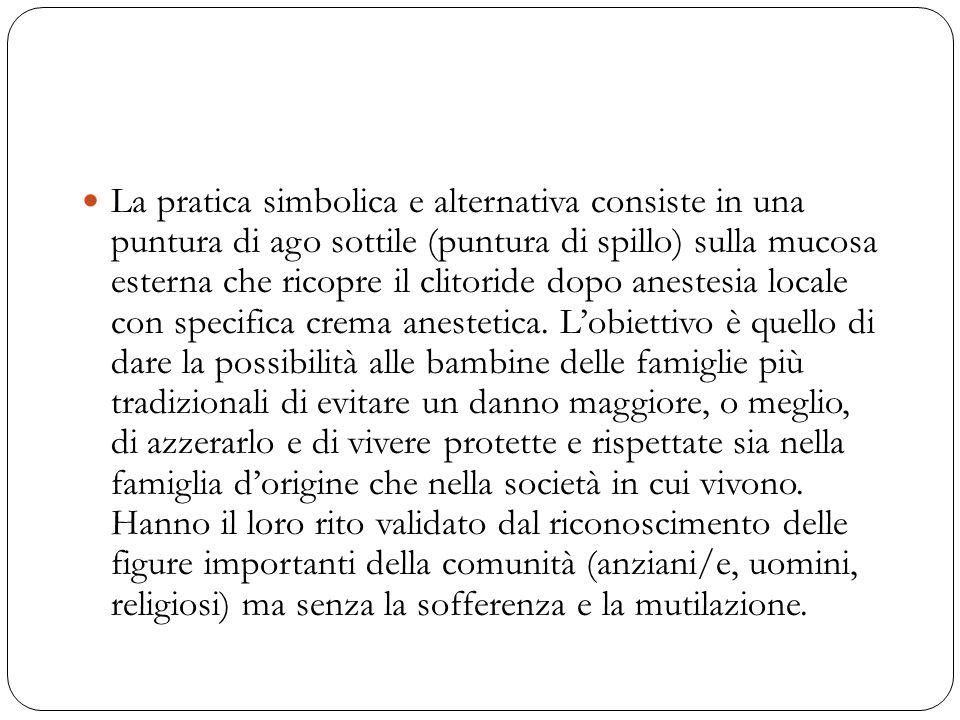 La pratica simbolica e alternativa consiste in una puntura di ago sottile (puntura di spillo) sulla mucosa esterna che ricopre il clitoride dopo anestesia locale con specifica crema anestetica.