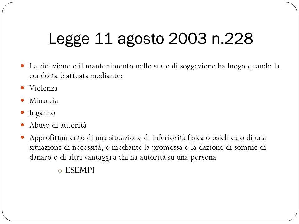 Legge 11 agosto 2003 n.228 La riduzione o il mantenimento nello stato di soggezione ha luogo quando la condotta è attuata mediante: