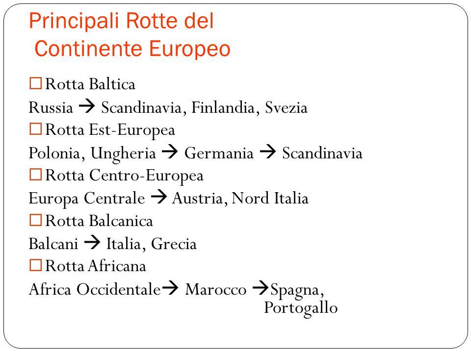 Principali Rotte del Continente Europeo