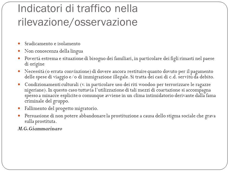 Indicatori di traffico nella rilevazione/osservazione