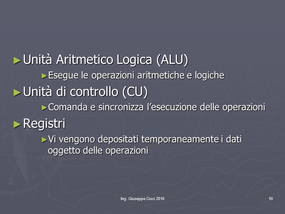 Unità Aritmetico Logica (ALU) Unità di controllo (CU) Registri