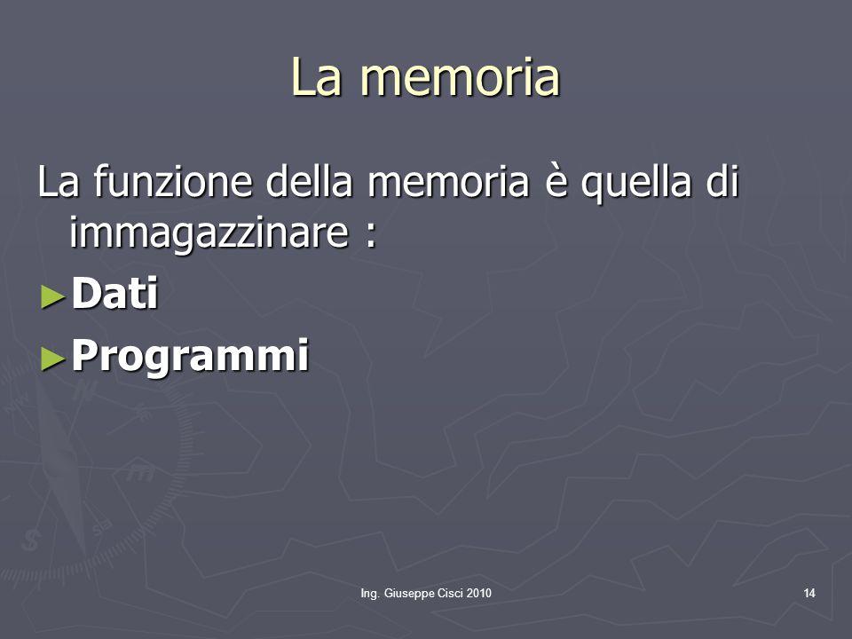 La memoria La funzione della memoria è quella di immagazzinare : Dati