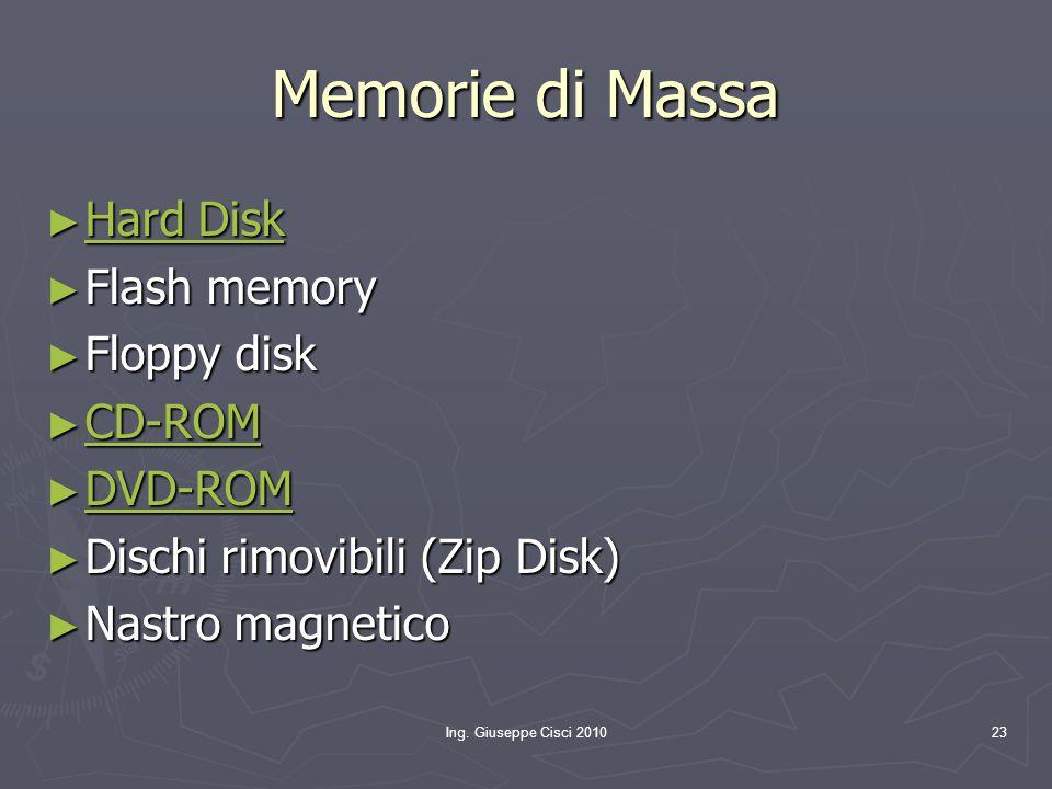 Memorie di Massa Hard Disk Flash memory Floppy disk CD-ROM DVD-ROM