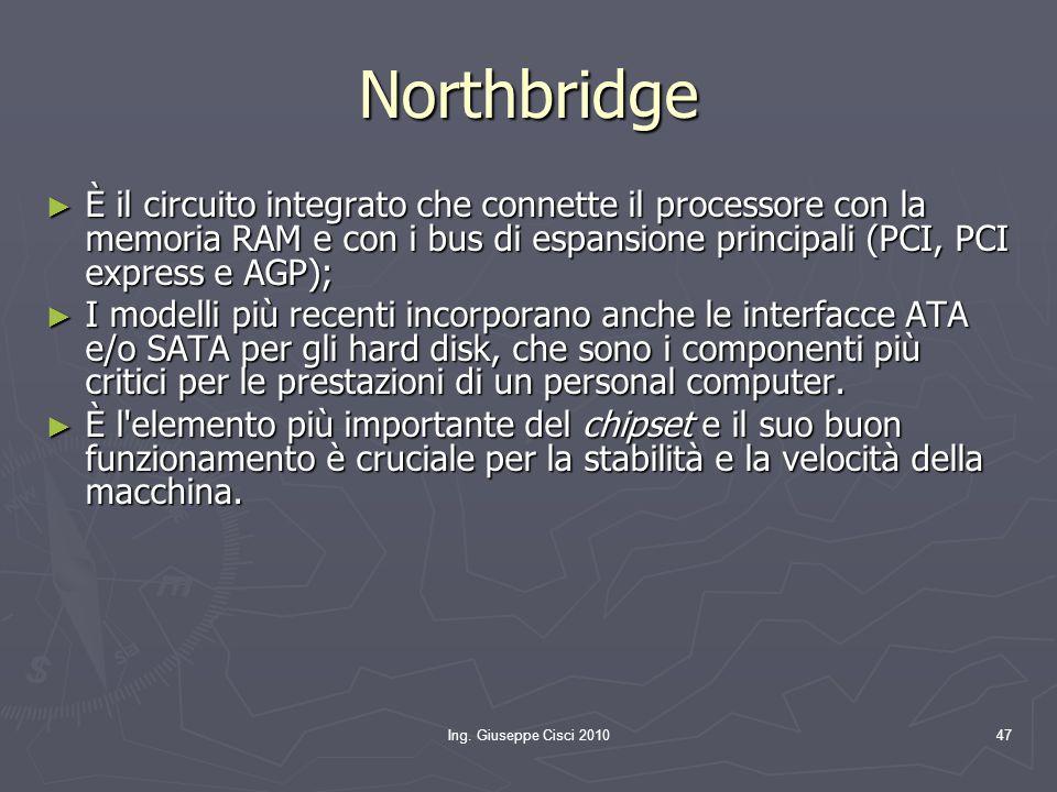 Northbridge È il circuito integrato che connette il processore con la memoria RAM e con i bus di espansione principali (PCI, PCI express e AGP);