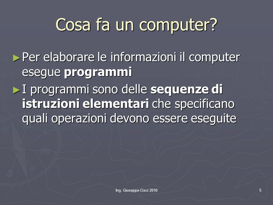 Cosa fa un computer Per elaborare le informazioni il computer esegue programmi.