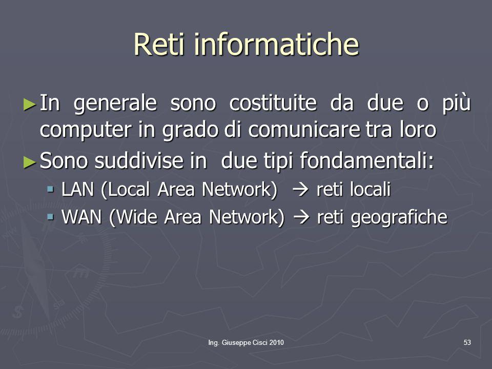 Reti informatiche In generale sono costituite da due o più computer in grado di comunicare tra loro.