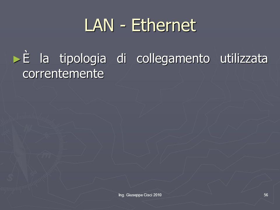 LAN - Ethernet È la tipologia di collegamento utilizzata correntemente