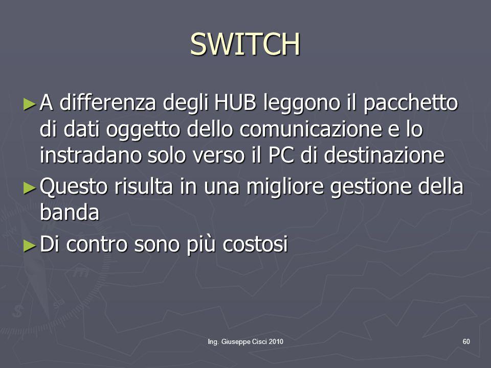SWITCH A differenza degli HUB leggono il pacchetto di dati oggetto dello comunicazione e lo instradano solo verso il PC di destinazione.