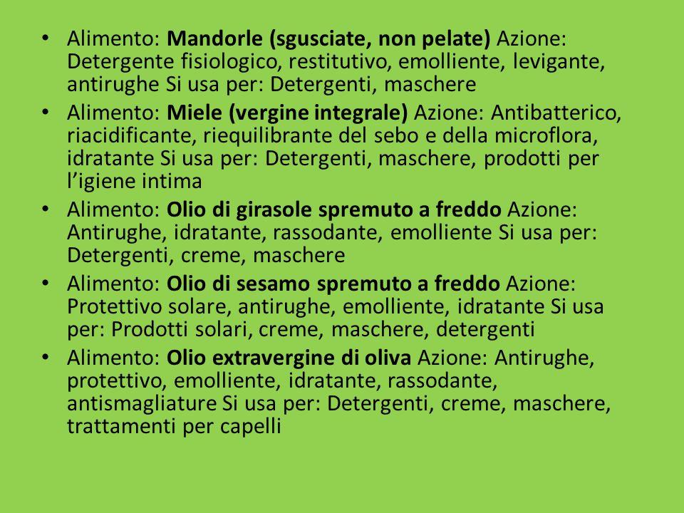 Alimento: Mandorle (sgusciate, non pelate) Azione: Detergente fisiologico, restitutivo, emolliente, levigante, antirughe Si usa per: Detergenti, maschere
