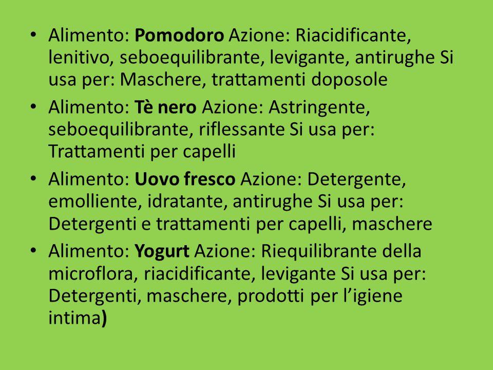 Alimento: Pomodoro Azione: Riacidificante, lenitivo, seboequilibrante, levigante, antirughe Si usa per: Maschere, trattamenti doposole