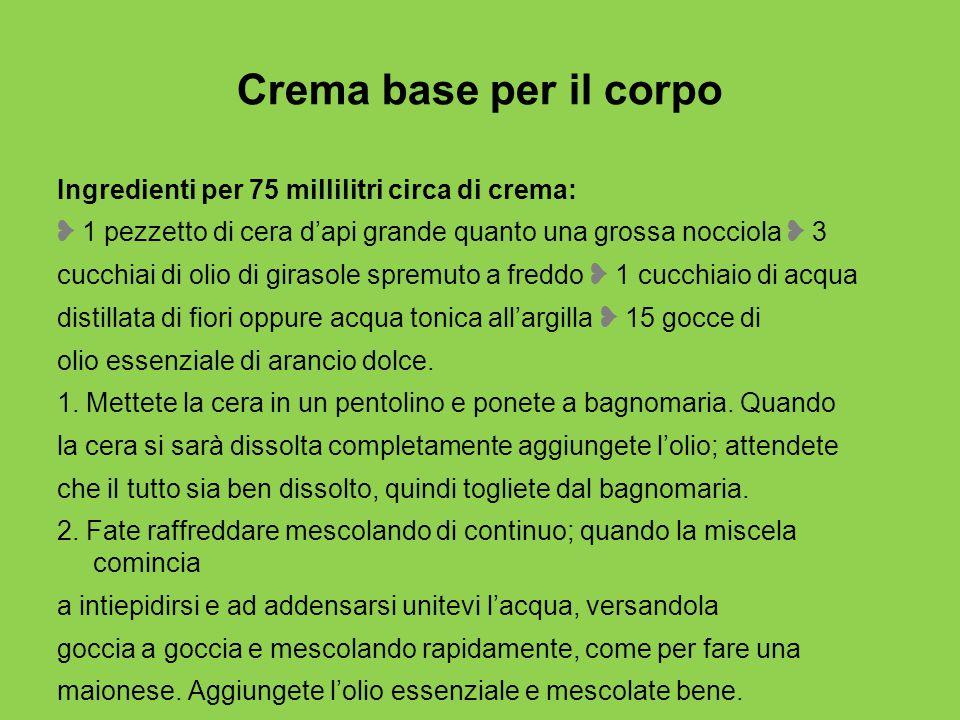 Crema base per il corpo Ingredienti per 75 millilitri circa di crema: