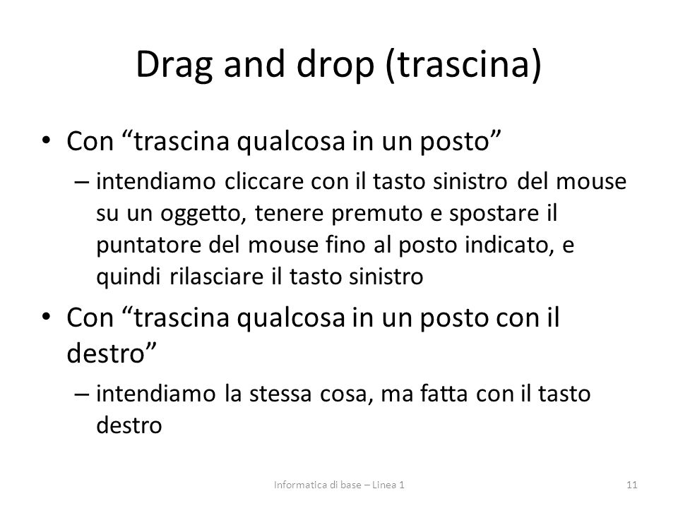 Drag and drop (trascina)