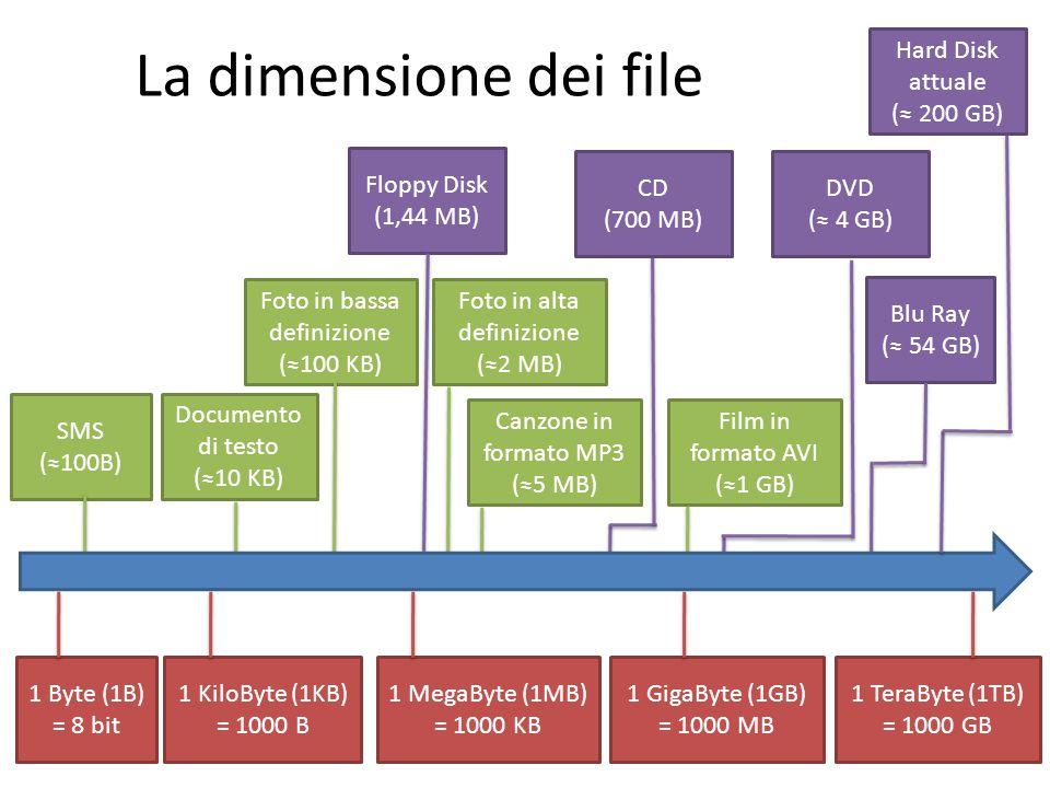 La dimensione dei file Hard Disk attuale (≈ 200 GB) Floppy Disk