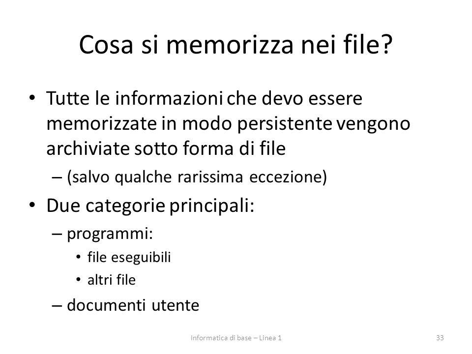 Cosa si memorizza nei file