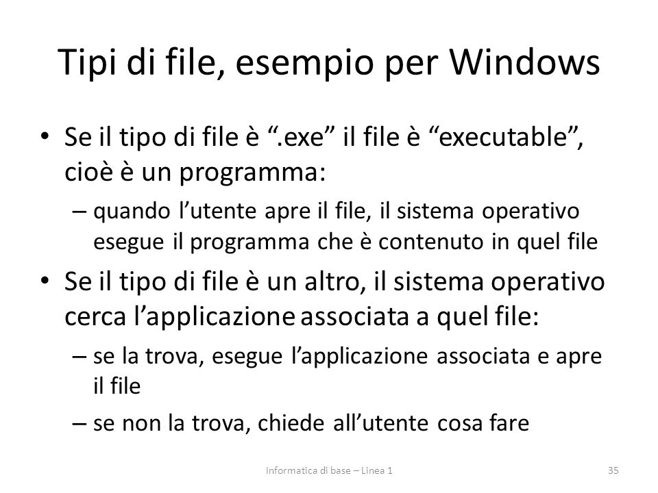 Tipi di file, esempio per Windows