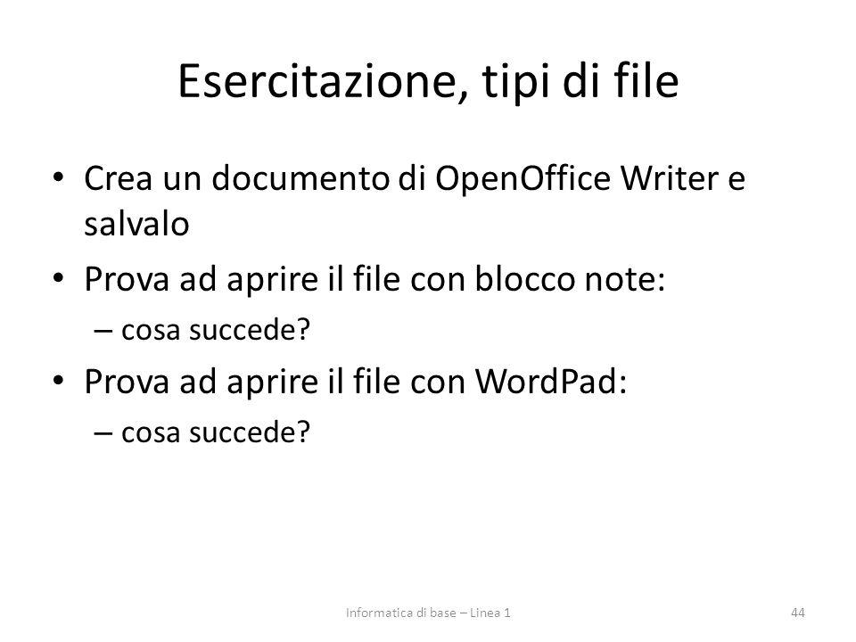 Esercitazione, tipi di file