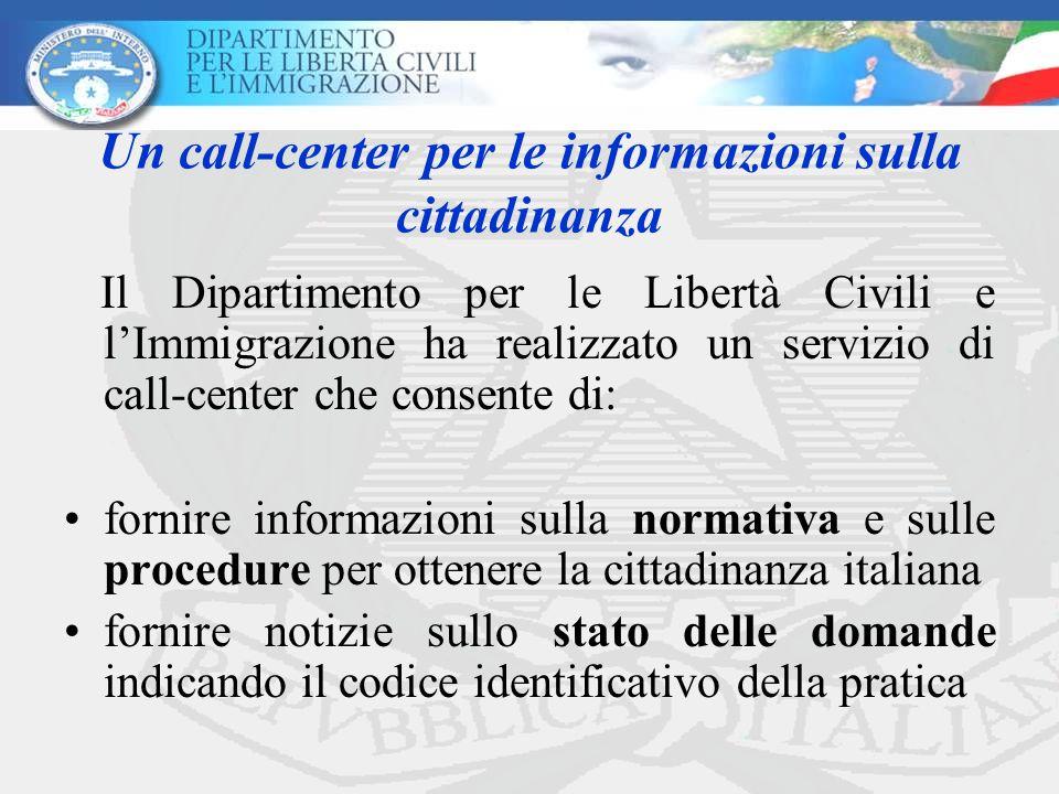 Un call-center per le informazioni sulla cittadinanza