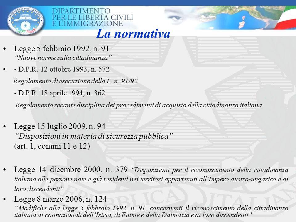 La normativa - D.P.R. 18 aprile 1994, n. 362