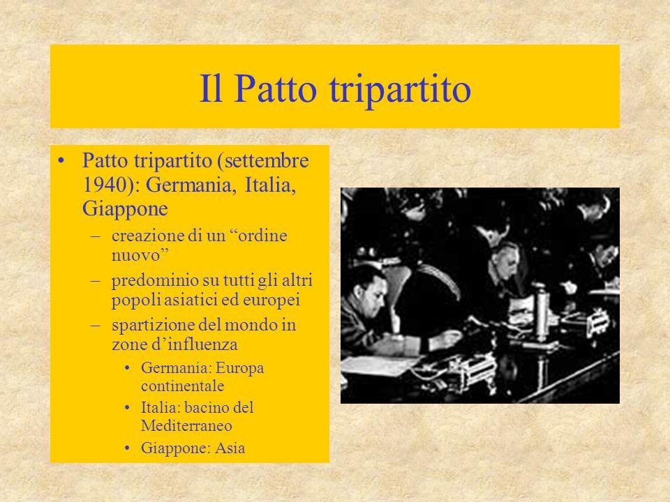 Il Patto tripartito Patto tripartito (settembre 1940): Germania, Italia, Giappone. creazione di un ordine nuovo