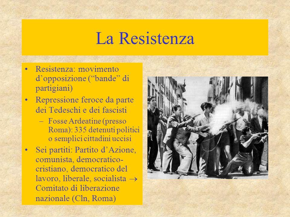 La Resistenza Resistenza: movimento d'opposizione ( bande di partigiani) Repressione feroce da parte dei Tedeschi e dei fascisti.