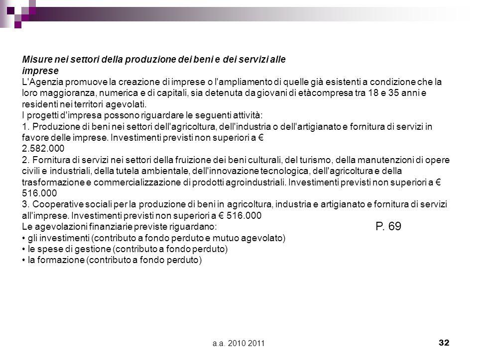 P. 69 Misure nei settori della produzione dei beni e dei servizi alle