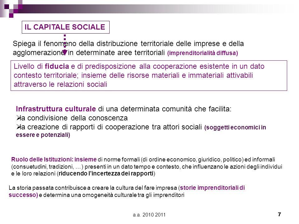 Infrastruttura culturale di una determinata comunità che facilita:
