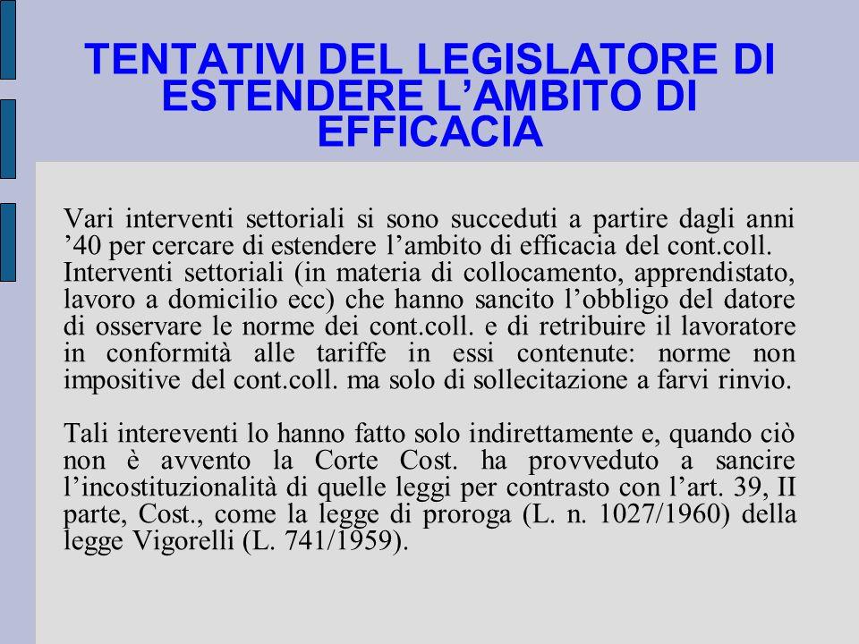 TENTATIVI DEL LEGISLATORE DI ESTENDERE L'AMBITO DI EFFICACIA