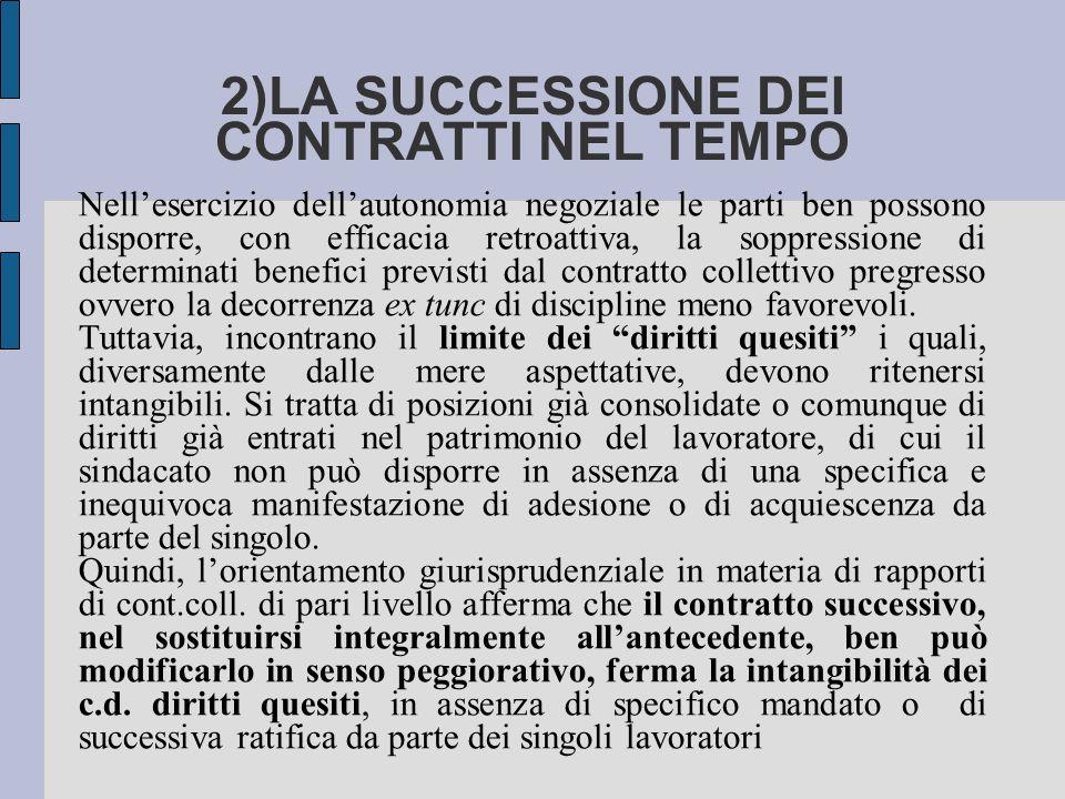 2)LA SUCCESSIONE DEI CONTRATTI NEL TEMPO