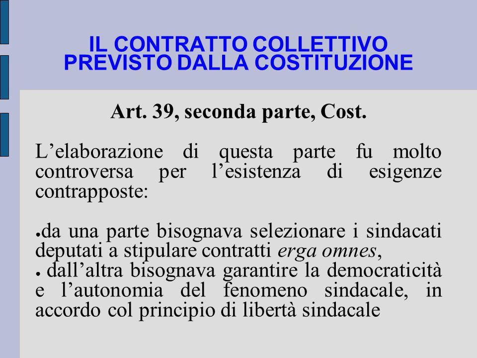 IL CONTRATTO COLLETTIVO PREVISTO DALLA COSTITUZIONE