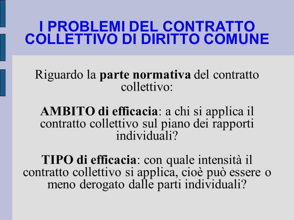 I PROBLEMI DEL CONTRATTO COLLETTIVO DI DIRITTO COMUNE