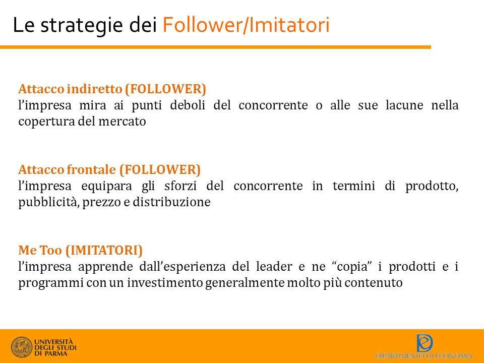 Le strategie dei Follower/Imitatori