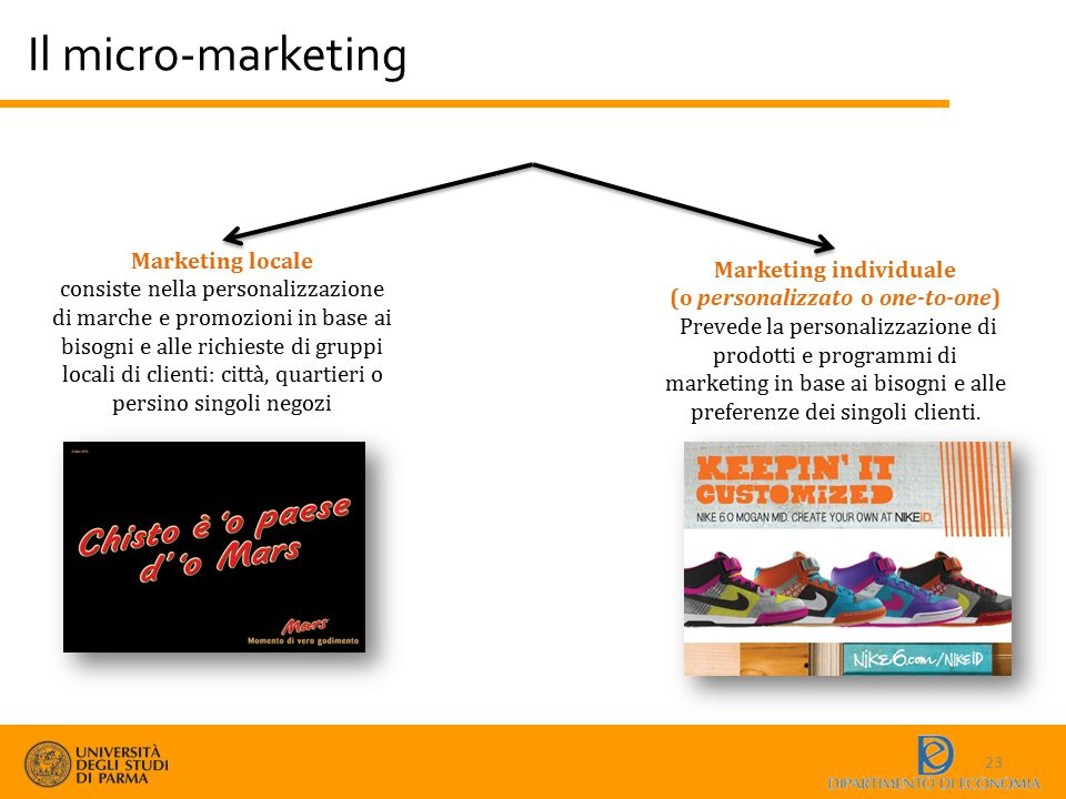 Marketing individuale (o personalizzato o one-to-one)