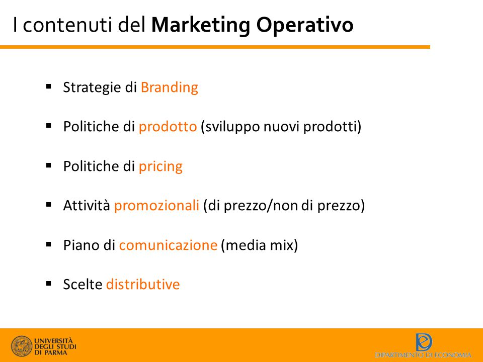 I contenuti del Marketing Operativo