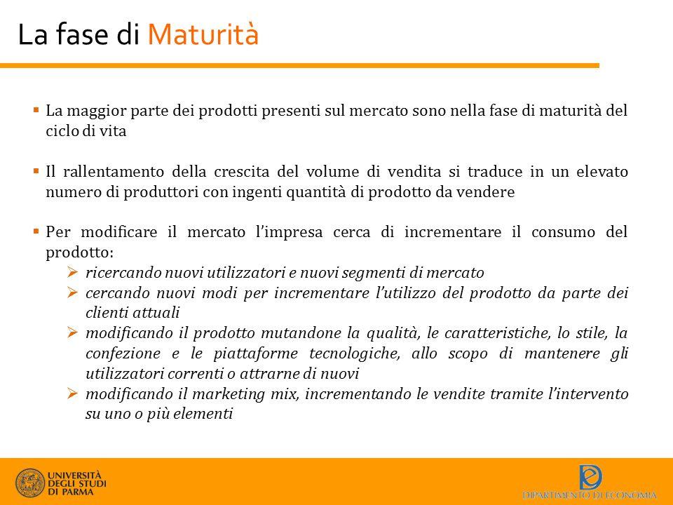 La fase di Maturità La maggior parte dei prodotti presenti sul mercato sono nella fase di maturità del ciclo di vita.