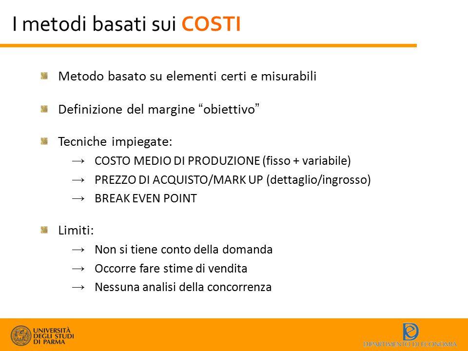 I metodi basati sui COSTI
