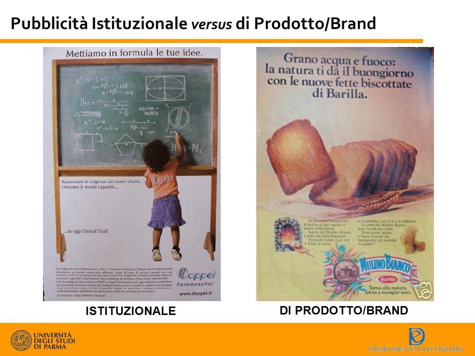 Pubblicità Istituzionale versus di Prodotto/Brand