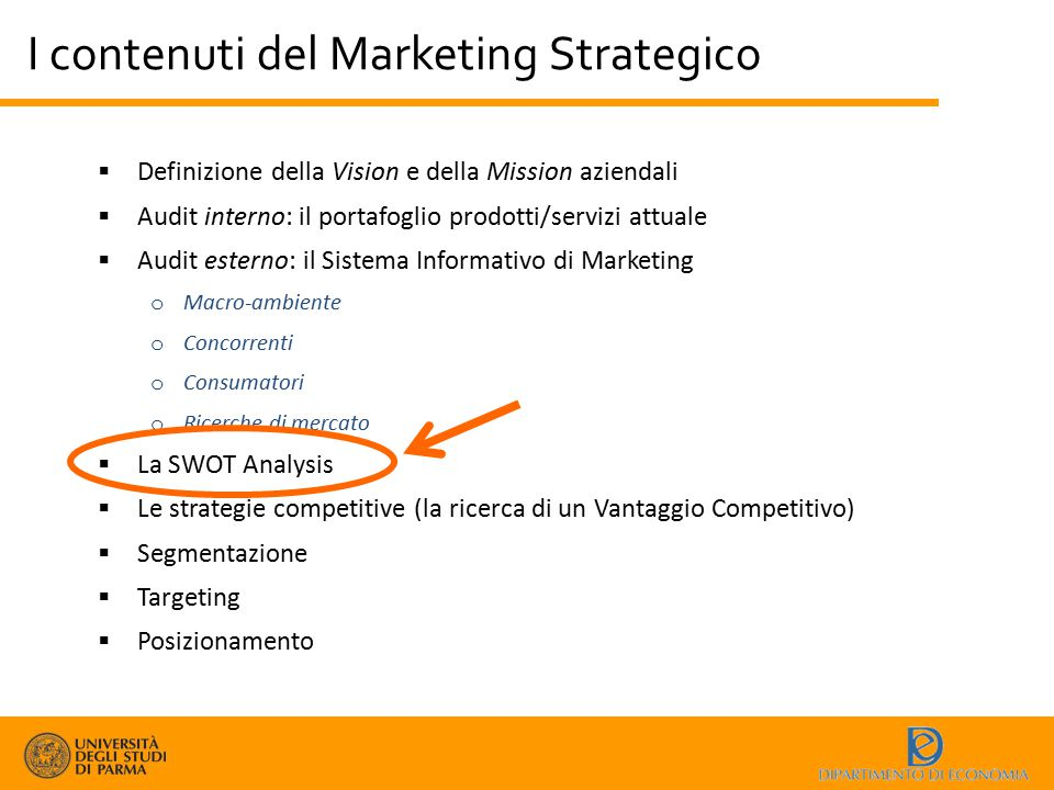 I contenuti del Marketing Strategico