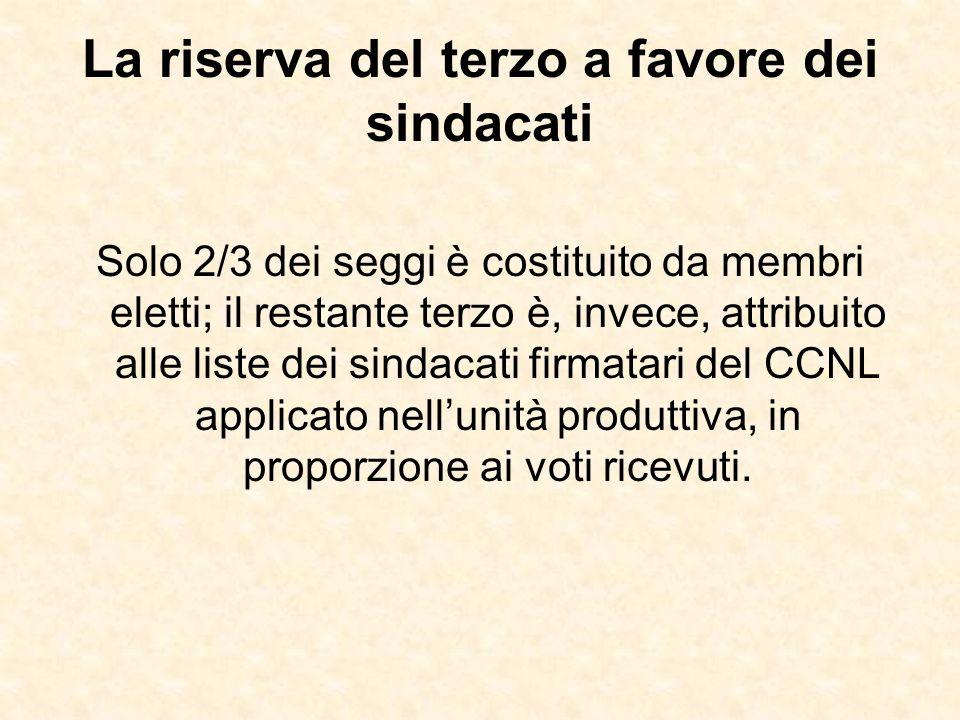 La riserva del terzo a favore dei sindacati