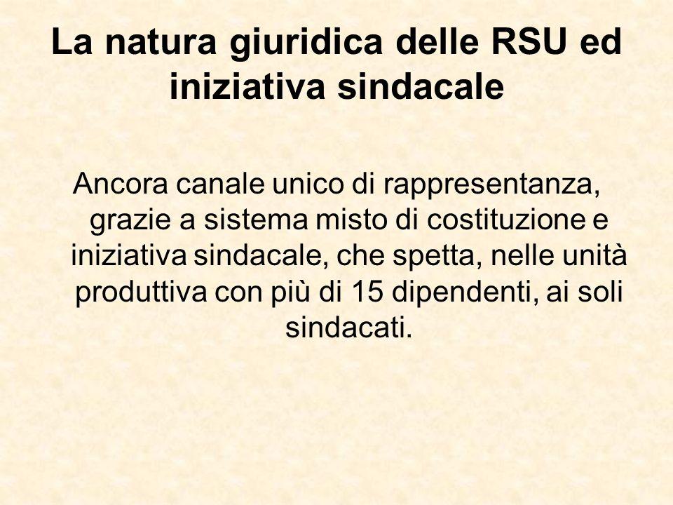 La natura giuridica delle RSU ed iniziativa sindacale
