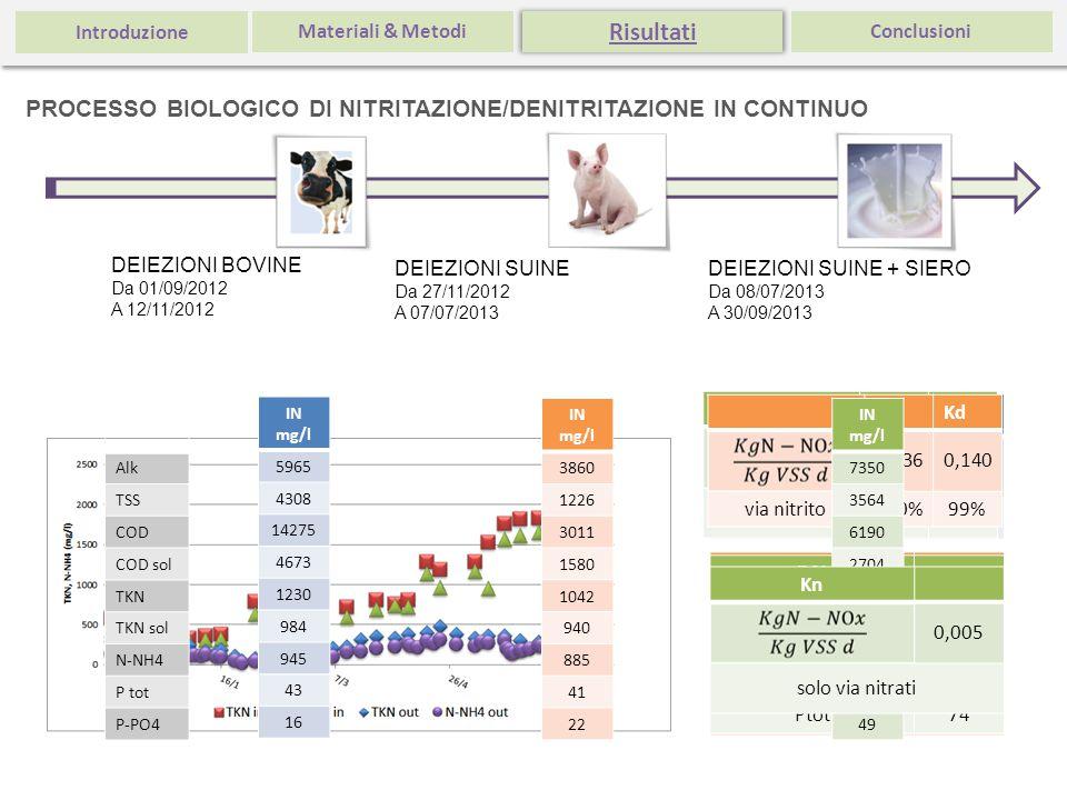 Introduzione Materiali & Metodi. Risultati. Conclusioni. PROCESSO BIOLOGICO DI NITRITAZIONE/DENITRITAZIONE IN CONTINUO.