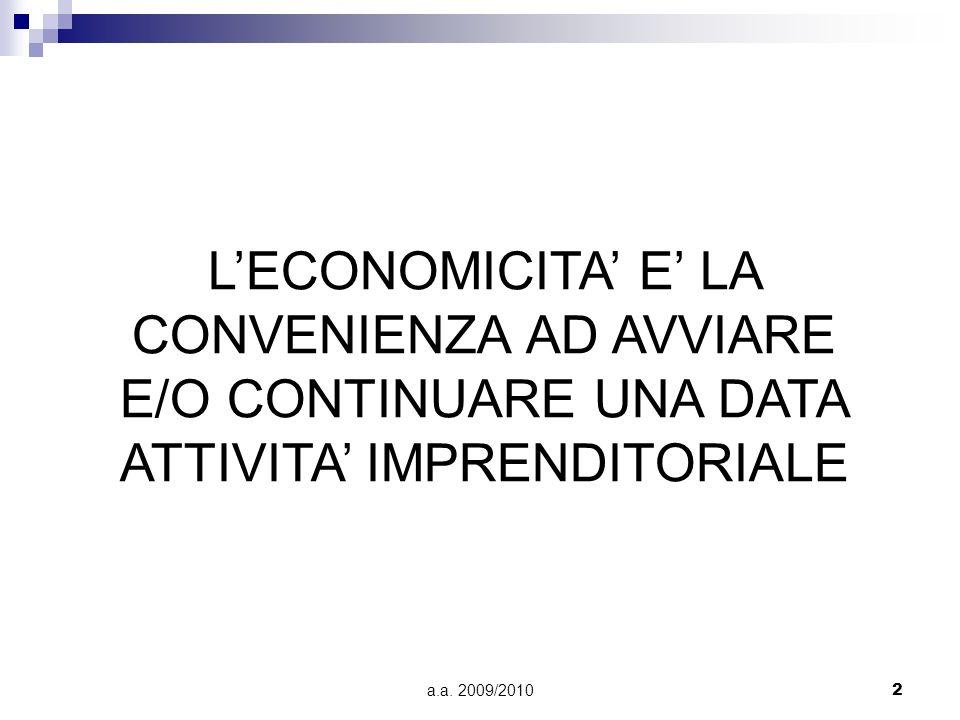 L'ECONOMICITA' E' LA CONVENIENZA AD AVVIARE E/O CONTINUARE UNA DATA ATTIVITA' IMPRENDITORIALE