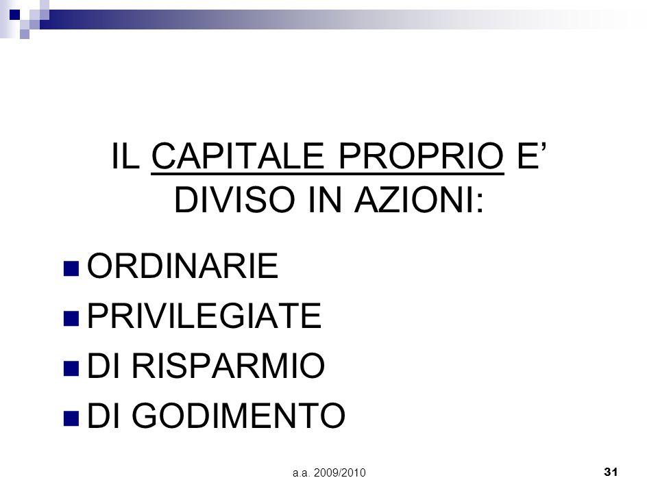 IL CAPITALE PROPRIO E' DIVISO IN AZIONI: